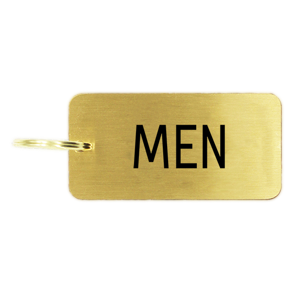 Men's Restroom Brass Key Chain