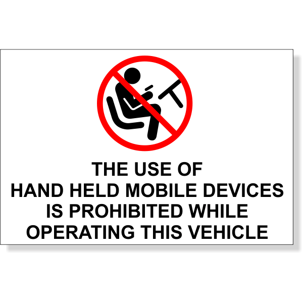 "Mobile Devise Prohibited While Operating Bumper Sticker | 4"" x 6"""