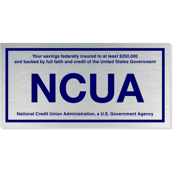 "NCUA Blue / Silver Color Wall Plate | 4"" x 8"""