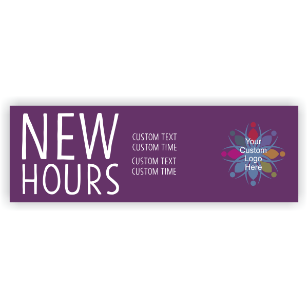 New Hours Banner - 2' x 6'
