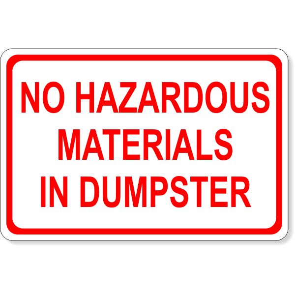 No Hazardous Materials Dumpster Decal | 4