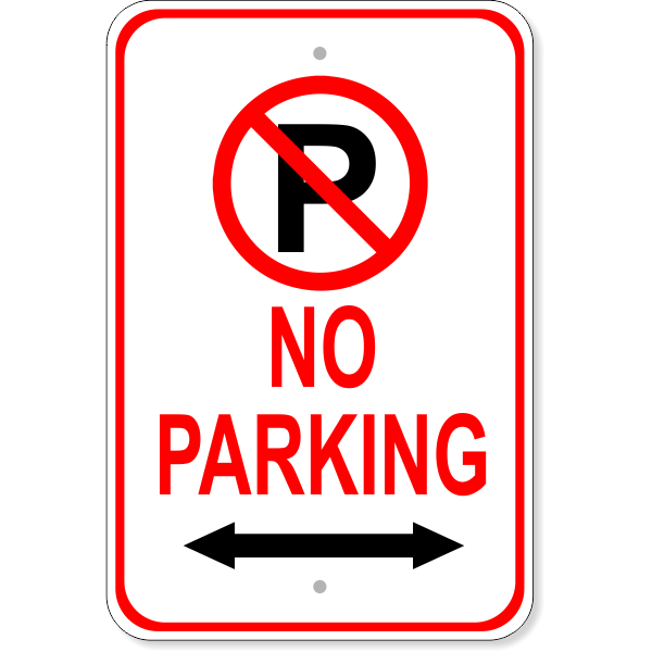 "No Parking Both Directions Aluminum Parking Sign | 18"" x 12"""