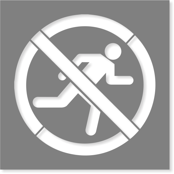 No Running Icon Stencil | Multiple Sizes