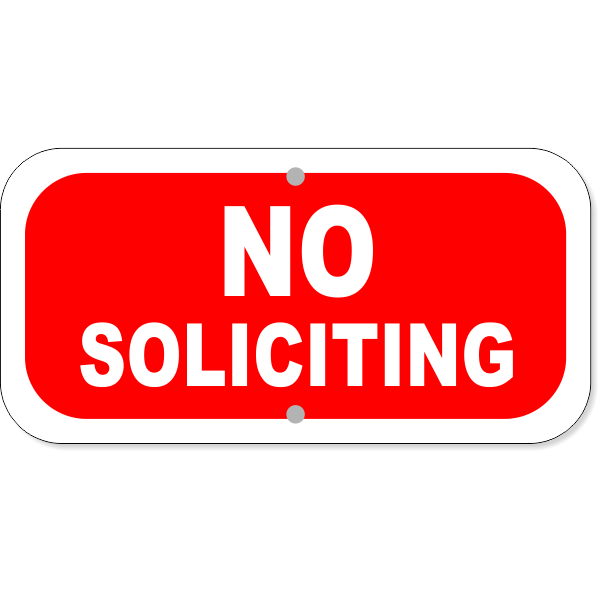 "No Soliciting Aluminum Add-On Sign | 6"" x 12"""