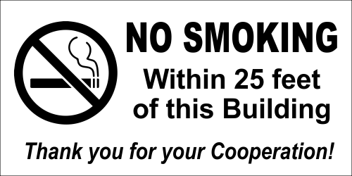 NO SMOKING Within custom Feet 12 x 4 Sign