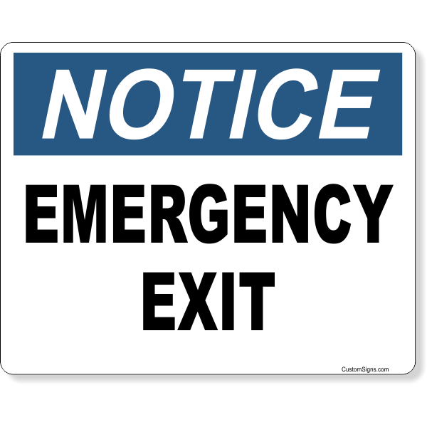 "Notice Emergency Exit Full Color Sign | 8"" x 10"""