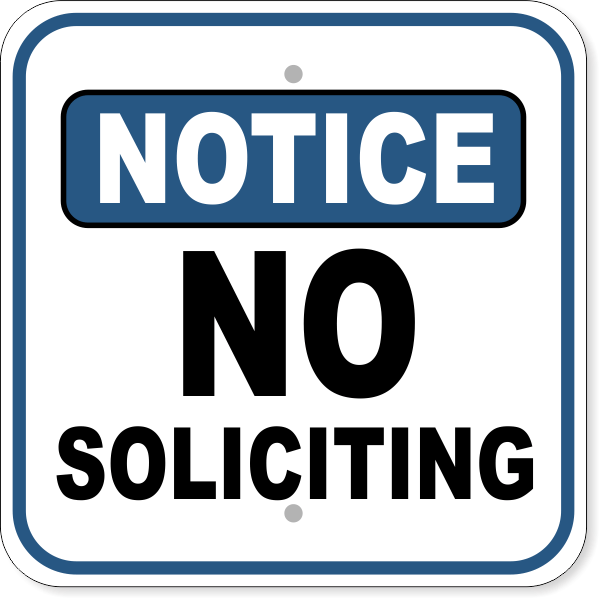 "Notice No Soliciting Aluminum Sign | 12"" x 12"""