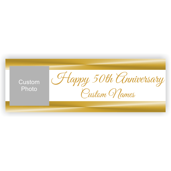 Personalized Golden Anniversary Banner | 2' x 6'