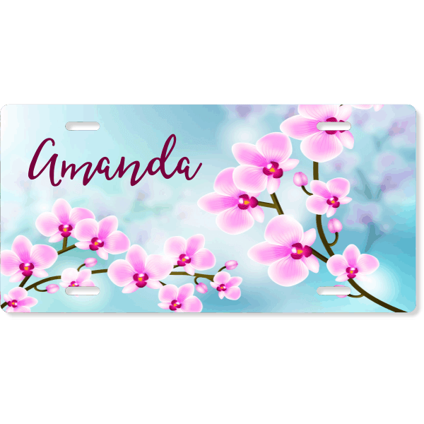 Custom License Plate with Pink Orchid Flowers