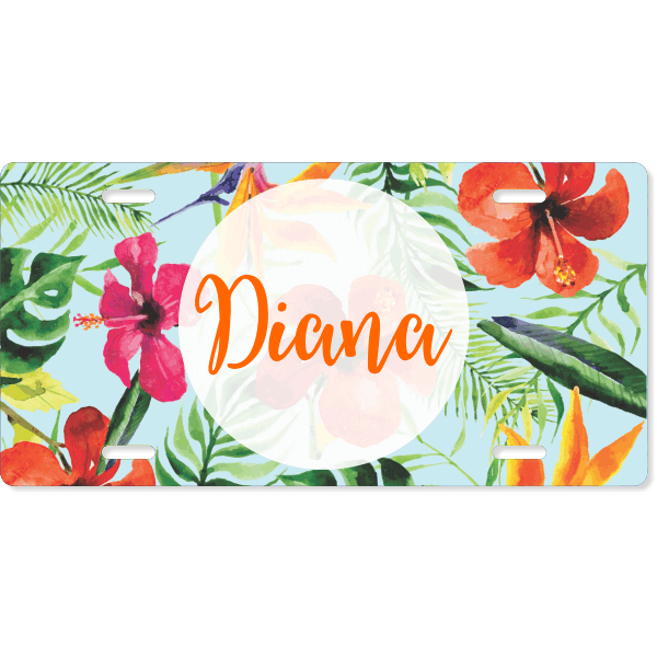 Tropical Floral Custom License Plate