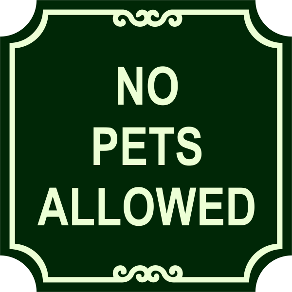No Pets Engraved Sign