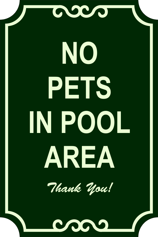 Pets in Pool Engraved Sign