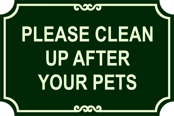 Pet Clean Up Engraved Sign