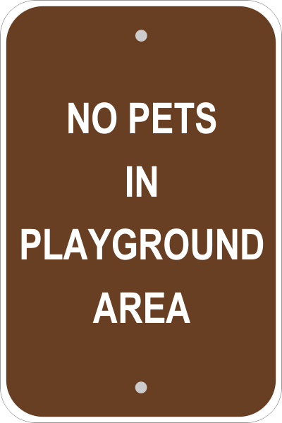Pets in Playground Sign
