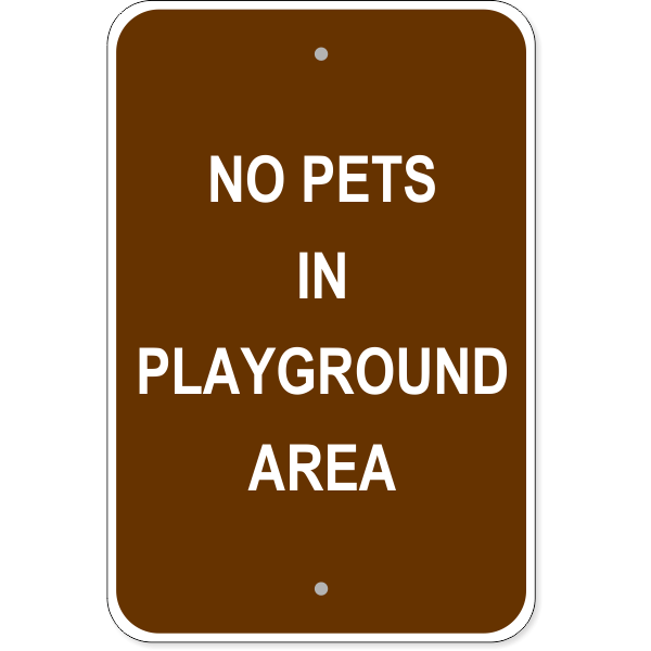 "Pets in Playground Aluminum Sign | 18"" x 12"""