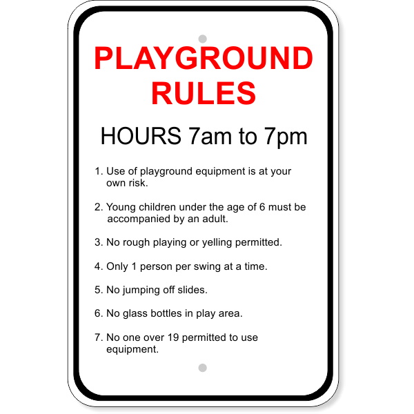 playground rules aluminum sign custom signs