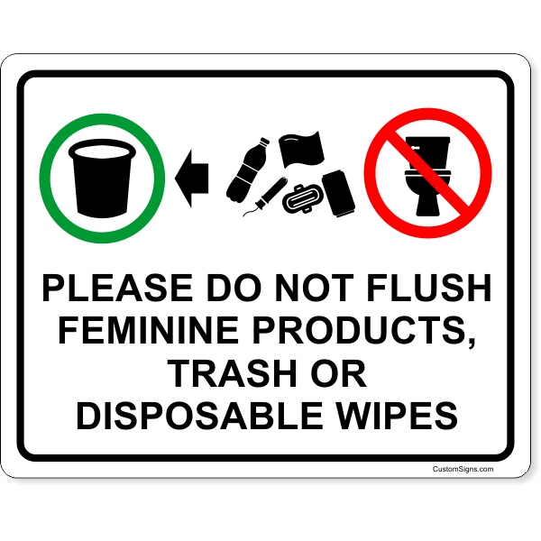 """Please Do Not Flush Products Full Color Sign   8"""" x 10"""""""