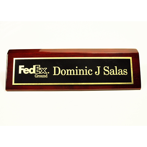 Piano Rosewood Desk Wedge with Black Plate with logo