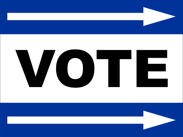 Blue Vote Right Sign