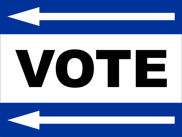Blue Vote Left Sign