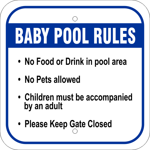 Baby Pool Rules Aluminum Sign