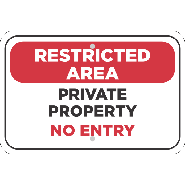Horizontal Restricted Area Private Property Sign