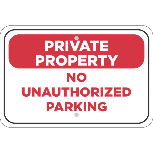 Horizontal No Parking Private Property Sign