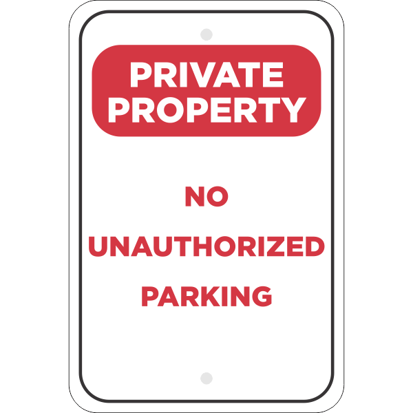 Vertical No Parking Private Property Sign