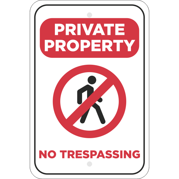Vertical No Trespassing Private Property