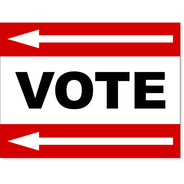 "Red Vote Left Arrow Yard Sign | 18"" x 24"""