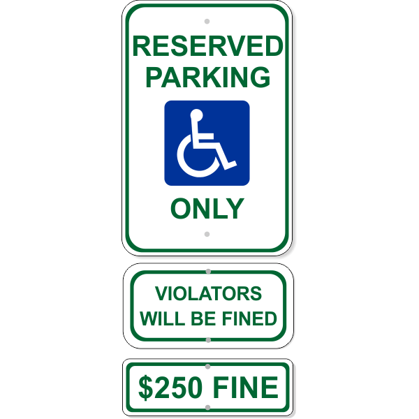 Reserved Handicap Parking Sign Bundle