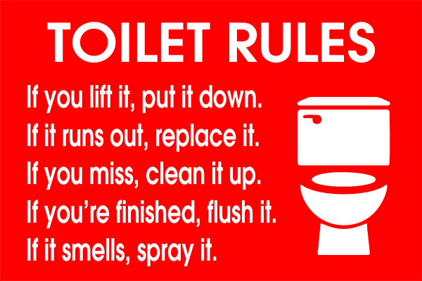 Toilet Rules Engraved Sign