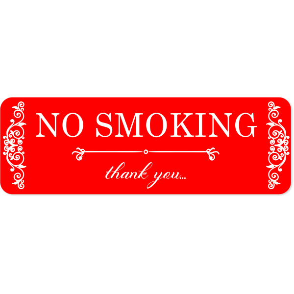 Sophisticated Custom Engraved No Smoking SIgn
