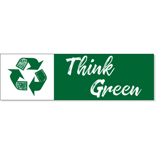 "Think Green Recycle Decal | 3"" x 10"""