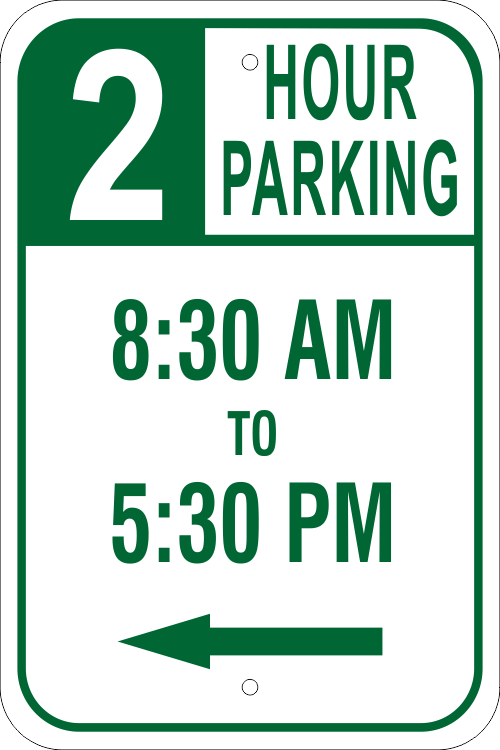 Timed Parking Sign with Left Arrow | 18