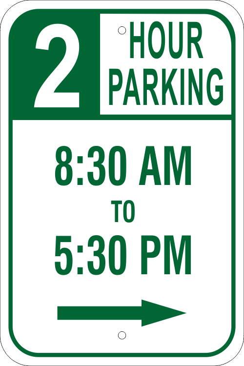 Parking Time Right Arrow Parking Sign