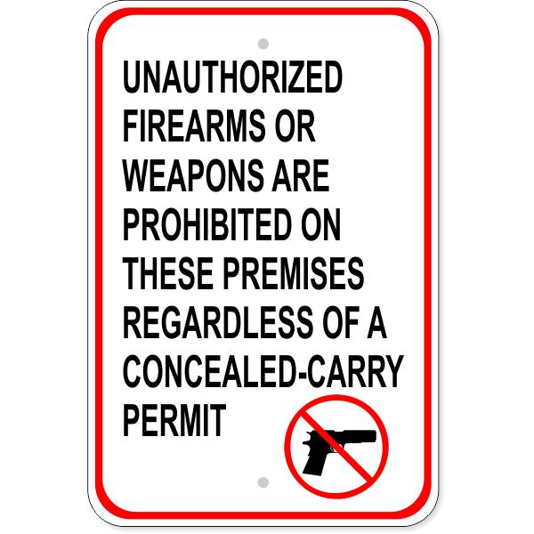 """Unauthorized Firearms Carry Permit Aluminum Sign 