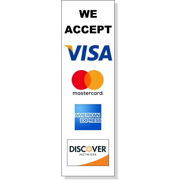"Vertical Credit Card Accepted Decal | 10"" x 3"""