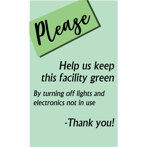 Vertical Green Facility Conserve Energy Sign