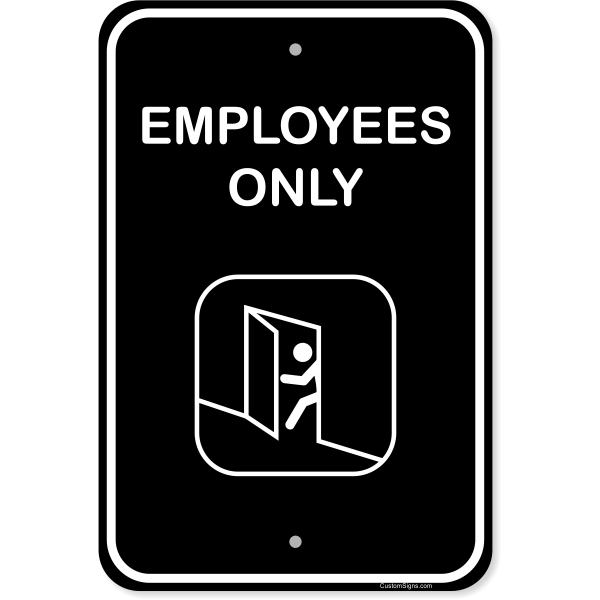 """Vertical Illustrated Employees Only Aluminum Sign 