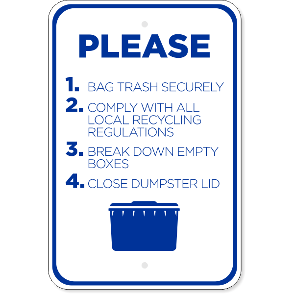 Vertical Please Comply Dumpster Sign