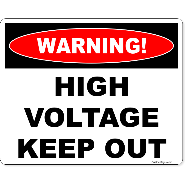 "Warning High Voltage Full Color Sign | 8"" x 10"""