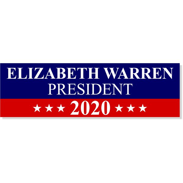 "Warren 2020 Bumper Sticker | 3"" x 10"""
