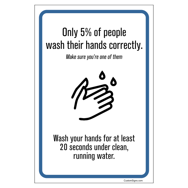 "Wash for 20 Seconds Hand Washing Full Color Sign | 4"" x 6"""
