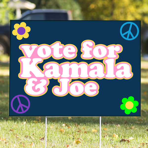 "70's Themed Vote for Kamala and Joe Yard Sign | 18"" x 24"""