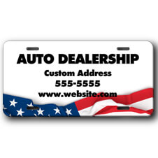 Auto Dealership Front License Plate with American Flag