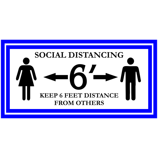 Rectangle Blue Border Social Distancing Floor Decal
