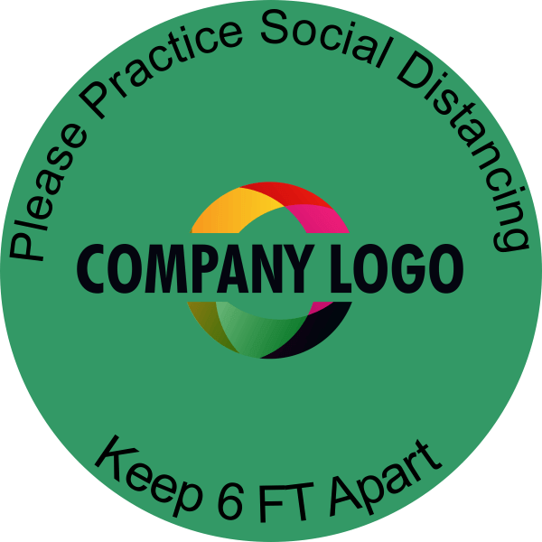 Round Green Social Distancing Logo Floor Decal