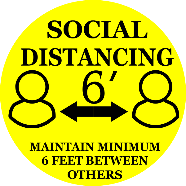 Round Yellow Social Distancing Floor Decal