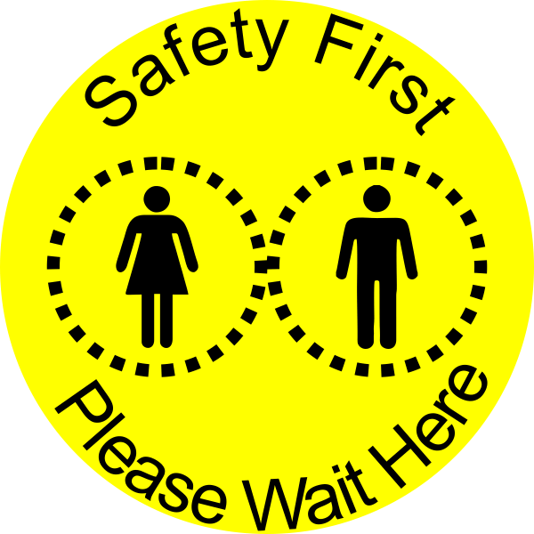 Round Yellow Safety First Floor Decal
